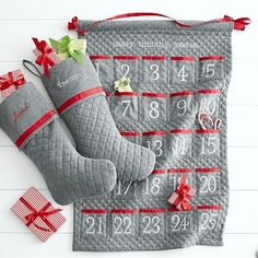 Personalized Quilted Advent Calendar in traditional red and grey. #christmas#advent#calender