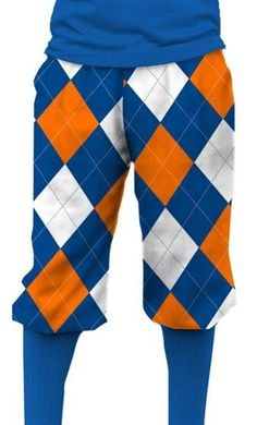 Loudmouth Golf Mens Golf Knickers - Orange & Blue.  Buy it @ ReadyGolf.com