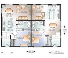 Discover the plan - Lucinda 2 from the Drummond House Plans multi family collection. Modern rustic duplex house plan, open floor plan concept with 3 bedrooms and 2 full bathrooms. Duplex House Design, Home Room Design, Home Design Plans, House Plans 3 Bedroom, Family House Plans, Duplex Floor Plans, House Floor Plans, Tiny House, Drummond House Plans