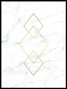 Poster with diamond shapes in gold on white marble. Extremely beautiful and luxurious poster for the Kunst Online, Online Art, Bild Gold, Desenio Posters, Triangle Print, Tumblr Wallpaper, White Marble, White Gold, Phone Backgrounds