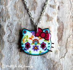 Day of the Dead Hello Kitty Sugar Skull by PrettyInInkJewelry, $17.95