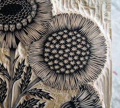 Inspiration for machine embroidery --- Valerie Lueth + Paul Roden, Tugboat Printshop ~ Daisy Bouquet ~ Woodcut Detail Sgraffito, Linocut Prints, Art Prints, Block Prints, Lino Art, Stamp Carving, Linoprint, Wood Engraving, Art Plastique
