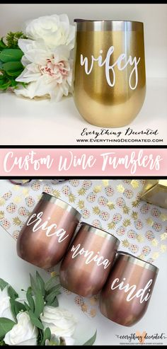 Custom Wine Tumblers in Gold and Rose Gold! What's Your Favorite Color? Personalize one for yourself and your whole squad! Tumblers With Lids, Wine Tumblers, Etched Mason Jars, Bridesmaid Cups, Bachelorette Party Gifts, Personalized Bridesmaid Gifts, Favorite Color, Squad, Gifts For Her