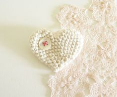 Creamy Crocheted Heart Brooch. Etsy.