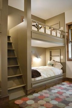 Love this idea for bunkbeds.seems more comfortable and safer. Plus looks better than standard bunkbeds Home Bedroom, Bedroom Decor, Bedroom Ideas, Extra Bedroom, Bedroom Loft, Girls Bedroom, Master Bedroom, Warm Bedroom, Boy Bedrooms