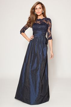 Teri Jon Long Sleeve Lace and Taffeta Gown | Teri Jon
