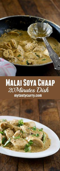 Malai Soya Chaap curry is rich North Indian curry made with soya chaap. Soya Chaap is cooked into creamy and mildly spicy flavourful gravy which is made with rich malai or milk cream.