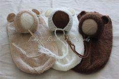 Bear Bonnets & Snuggle Sacks ( set of 3).                 Item Type: Sleep sacks & Bear Bonnets sets  3 colors:  Tan, Brown and IvoryBaby Age: 0-3 monthsMaterial: Wool knit  You get all 3 sets!  we can keep our prices low since we order based on demand  orders can take 3 - 4+ weeks to revieve