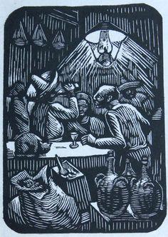 Abelardo Avila (1907 - 1967). Cantina , ca. 2945  Grabado, madera de pie. Imagen: 12.2 X 8.6 cm. Papel: 14.3 X 10 cm. Colección Blastein