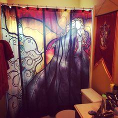 Harry Potter Bathroom Decor Elegant My Harry Potter Bathroom Progress Shower Curtain From Harry Potter Bathroom, Harry Potter Day, Harry Potter Nursery, Harry Potter Decor, Girl Bathrooms, Bathroom Art, Bathroom Ideas, Gold Paint Colors, Geek Cave