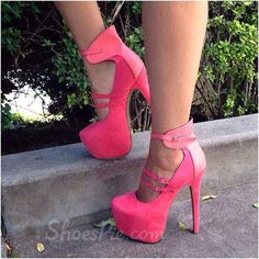 Fahionable PU Double Ankle Strap High Heel Shoes
