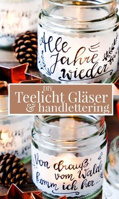 Teelichtgläser Glue and label DIY tealight glasses (tealight holders) with transparent paper Pot Mason Diy, Mason Jar Crafts, Mason Jars, Diy Luz, Diy Papier, Mason Jar Lighting, Wine Bottle Crafts, Oreo Pops, Tea Light Holder