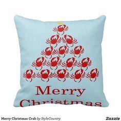 Merry Christmas Crab Throw Pillows