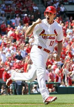 St. Louis Cardinals' Matt Carpenter rounds the bases after hitting the go-ahead home run in the eighth inning of a baseball game against the Chicago Cubs Tuesday, May 15, 2012, in St. Louis. The Cardinals won 7-6. (AP Photo/St. Louis Post-Dispatch, Chris Lee) EDWARDSVILLE OUT; ALTON OUT