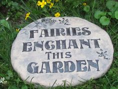 Fairy Garden Art - Garden sign - Weatherproof Ceramic plaque for outdoors - Lovely vintage font with fairies