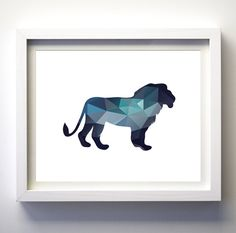Teal Navy Blue Aqua Blue Wall Art Lion King Print Minimalist Geometry Wall Art Decor Geometric Animals Bear Boys Nursery Art Printable Bear