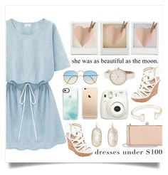 """""""Dress O Neck: Short Sleeve Casual Dress"""" by aylizzle01 ❤ liked on Polyvore featuring Holga, Fujifilm, GUESS, Jimmy Choo, Kendra Scott and Casetify"""