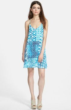 Leith+Print+Strappy+V-Neck+Minidress+available+at+#Nordstrom