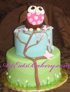 Two tier fondant owl and tree birthday cake Green Birthday Cakes, Owl Cake Birthday, Owl Birthday Parties, Birthday Ideas, Birthday Cup, Owl Cakes, Cupcake Cakes, Cupcake Ideas, Cute Cakes