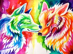 Two Rainbow Wolves (On Ebay) by Lucky978.deviantart.com on @deviantART