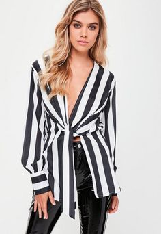 White Striped Sheer Wrap Front Blouse#ad