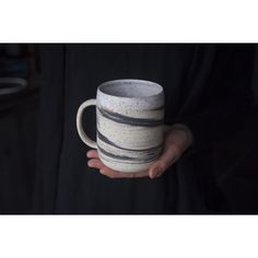 Extra large 500ml 700ml mug handmade wheel thrown marbled speckled... (62 CAD) ❤ liked on Polyvore featuring home, kitchen & dining and drinkware