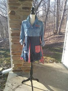 Hey, I found this really awesome Etsy listing at https://www.etsy.com/listing/579677500/upcycled-denim-shirt-with-blue-jean-and