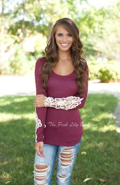The Pink Lily Boutique - All I Need Lace Sleeve Blouse Wine, $35.00 (http://thepinklilyboutique.com/all-i-need-lace-sleeve-blouse-wine/)