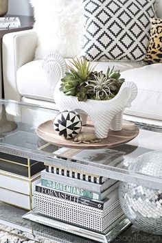 coffee table vignette with disco ball, Jonathan Adler horse bowl, leopard pillow and coffee table books - Decor, Room Accessories, Home, Eclectic Home, Eclectic Interior, Green Velvet Sofa, Spring Home, House Tours, Coffee Table