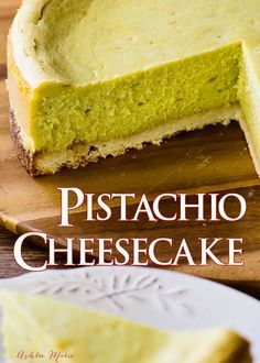 Everyone loves pistachio desserts, like this pistachio cheesecake with a coconut macaroon crust! Free recipe for cheesecake and pistachio paste. Pistachio Cheesecake, Pistachio Dessert, Pistachio Recipes, Cheesecake Recipes, Chocolate Cheesecake, No Bake Desserts, Just Desserts, Delicious Desserts, Dessert Recipes