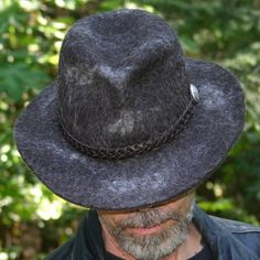 Explorer Fedora made from llama felt, by Joyce Abrams of Forest Edge Hats