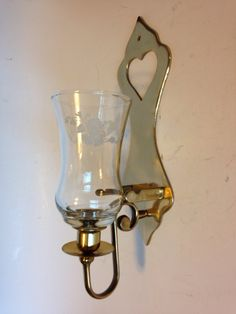 Vintage Brass Votive Candle Holder Wall Sconce with Etched Glass Hummingbird Chimney by EBSVintageHome on Etsy