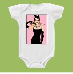Audrey Hepburn, Holly Golightly  Stunning Onesie or T-Shirt by ChiTownBoutique.etsy. $15.00, via Etsy.