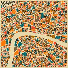 London Art Print Jazzberry Blue