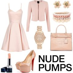 nude love <3 by hannderella on Polyvore featuring Girls On Film, Christian Louboutin, Reed Krakoff, Michael Kors, Lipsy, Christian Dior, nude, nudepumps and nudepump