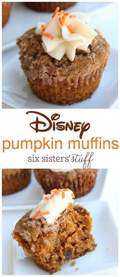 Disney Pumpkin Muffins Recipe from These lightly spicy made from scratch copycat muffins are the best fall snack or easy breakfast YUM Köstliche Desserts, Delicious Desserts, Dessert Recipes, Yummy Food, Plated Desserts, Cake Recipes, Cupcakes, Cupcake Cakes, Food Cakes