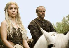 Daenerys Targaryen (Emilia Clarke) Ser Jorah Mormont (Iain Glen) from Game of Thrones.