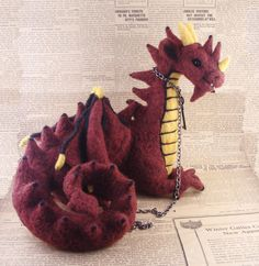 Needle Felted Red and Gold Dragon - Needle Felted OOAK Soft Sculpture by Bella McBride