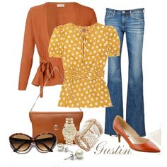 yellow polka dots, created by gustinz.polyvore.com