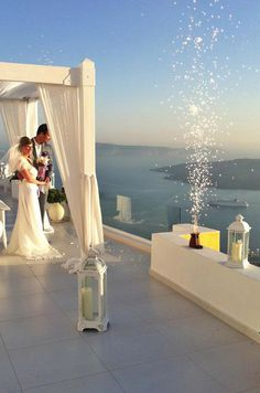 Santorini Wedding Decoration Ideas #fireworks