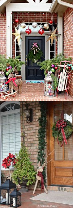 32 beautiful Christmas porches & front doors: how to create DIY outdoor Christmas decorations such as garlands wreaths wood signs ornaments pots etc! Diy Christmas Lights, Decorating With Christmas Lights, Porch Decorating, Christmas Tree Decorations, Holiday Decor, Holiday Ideas, Holiday Signs, Outdoor Decorations, Decorating Ideas