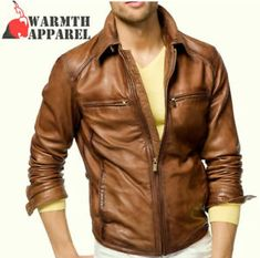 a946238cd91fec Details about Masculine Vintage SlimFit Genuine Leather Jacket Mens Brown  Waxy Western Style