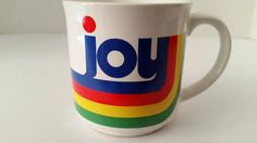 Vintage rainbow JOY coffee mugRecycled by TheLibertyBellShop