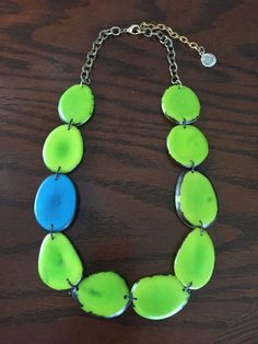 Apple Green and Turquoise tagua necklace by Irma Guzman Eco Jewelry