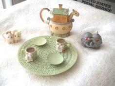 Vintage~Miniature TEA Set Figurines~Precious Moments by Enesco, Noah's Ark  #suitethings