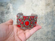Ethnic Bracelet Cuff Hand Embroidered bracelet Bead by OPGDesign