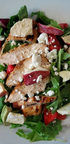 Fuji Apple Chicken Salad Panera Bread Copycat Recipe - A healthy salad made with grilled citrus chicken, topped with goat cheese apple chips and drizzled with a homemade balsamic vinaigrette.