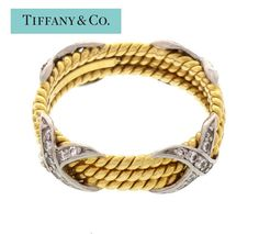 18Kt Gold Platinum Tiffany Schlumberger 3 Row by ThisArtGallery
