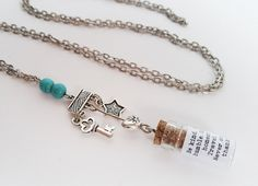 Silver charm necklace with message in a bottle. by totesBOHO Message In A Bottle, Silver Charms, Crystal Necklace, Glass Bottles, Beaded Bracelets, Charmed, Turquoise, Jewellery, Crystals