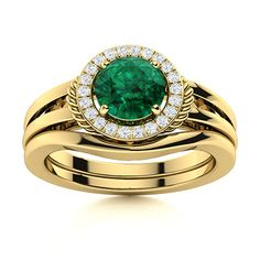 This enlivening bridal Emerald ring set is fashioned by a halo of diamonds and a creatively crafted rope design on it's 14k Yellow Gold band. Natural Emerald Rings, Bridal Ring Sets, Love Ring, Gold Bands, Vintage Rings, Peridot, Ring Designs, Halo, Gold Jewelry